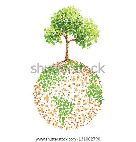 dot painting tree on earth - stock vector