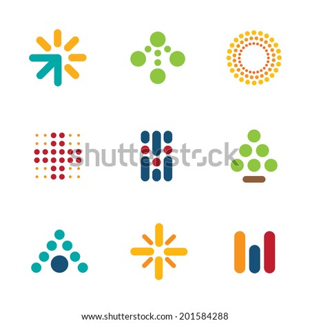 Dot set symbol arrow success progress icon help logo vector - stock vector