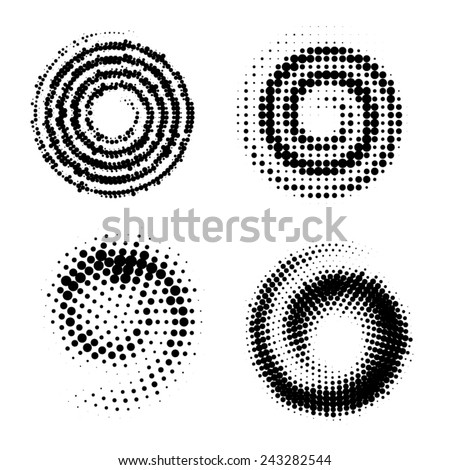 dot spiral elements - stock vector