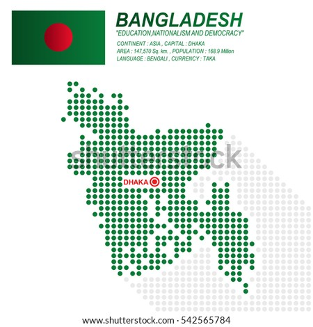 Dot Style Of Bangladesh Map And Flag On White Background Eps10 Art Vector