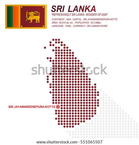 Dot Style Of Sri Lanka Map And Flag On White Background Eps10 Art Vector