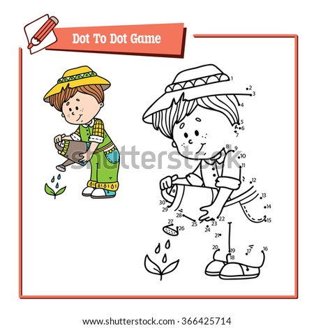 dot to dot gardener educational game. Vector illustration of dot to dot puzzle with happy cartoon gardener for children - stock vector