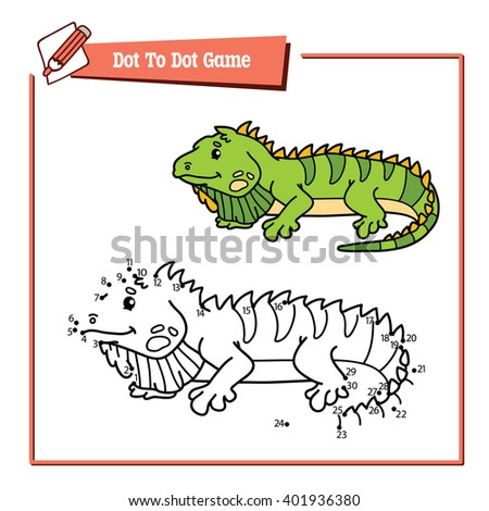 dot to dot iguana educational game. Vector illustration educational game of dot to dot puzzle with happy cartoon iguana for children