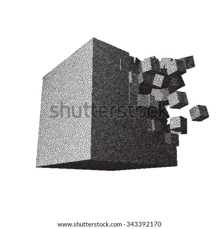 Dot work raster cube object explosion with cubical particles - stock vector