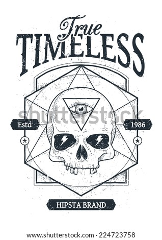 Dot work styled print with skull and geometric hipster elements. Vector illustration.  - stock vector
