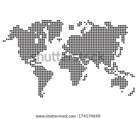 Dot World maps and globes - stock vector