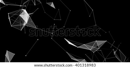Dots and triangles background with particle, molecule structure. genetic and chemical compounds. creative vector. Space and constellations. Science and connection concept. Social network. black banner