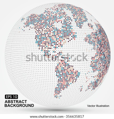 Dots colorful three-dimensional map of the world,abstract graphics.
