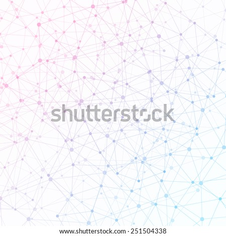 Dots with connections, triangles light background - stock vector