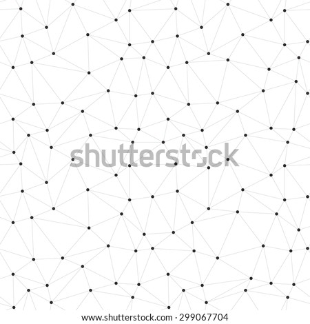 Dots with connections, triangles seamless vector background - stock vector