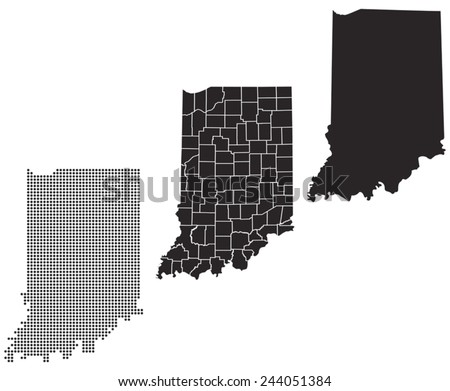 Dotted and Silhouette indiana map  - stock vector