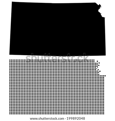 Dotted and Silhouette State of Kansas map - stock vector