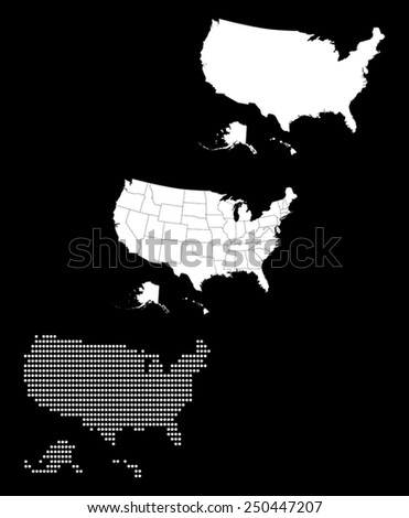 United States Silhouette Stock Photos RoyaltyFree Images - Us map white silhouette