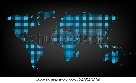 dotted blue world map background vector - stock vector