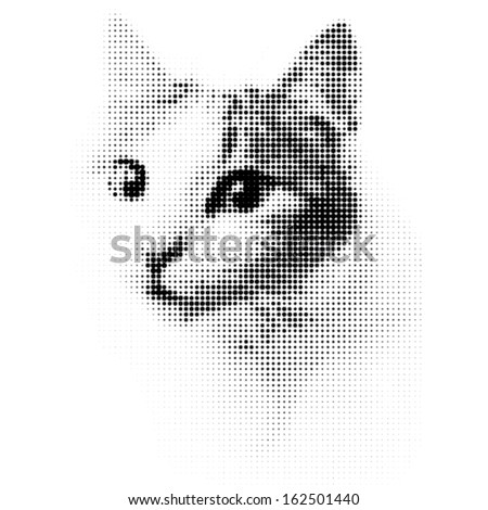 Dotted cat in black and white - stock vector