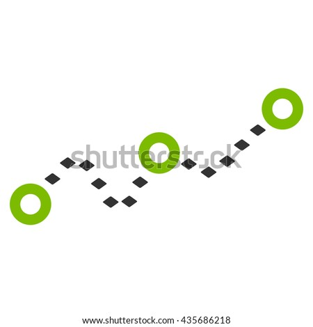 Dotted Chart vector toolbar icon. Style is bicolor flat icon symbol, eco green and gray colors, white background, rhombus dots.