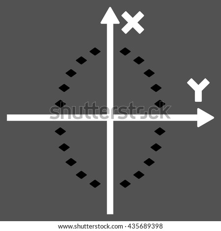 Dotted Ellipse Plot vector toolbar icon. Style is bicolor flat icon symbol, black and white colors, gray background, rhombus dots.