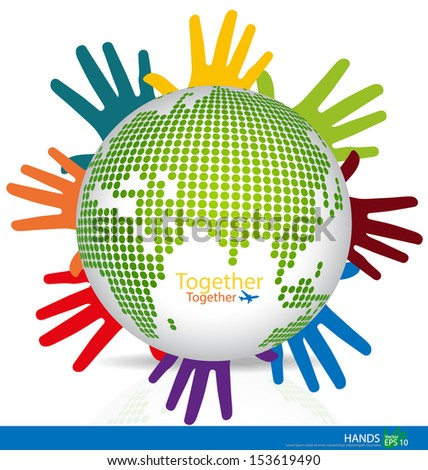 Dotted Globes with colorful hands. Vector illustration. - stock vector