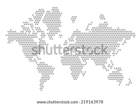 Dotted Map of the World radial blended - stock vector