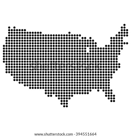 Dotted map - United States - stock vector