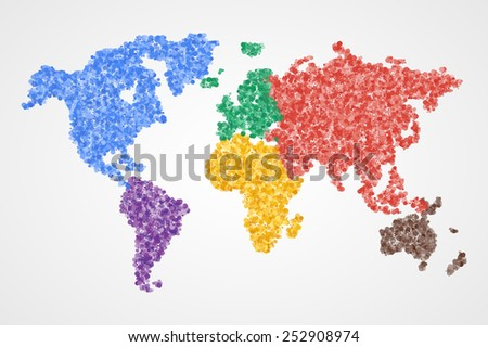 Dotted round colorful world map. Abstract vector illustration. - stock vector