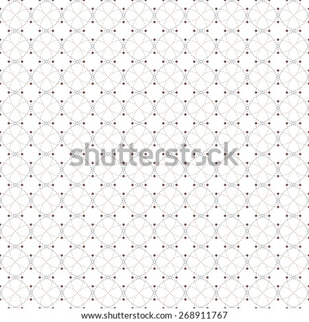 Dotted seamless pattern with circles and nodes. Repeating modern stylish geometric background. Simple abstract monochrome vector texture.