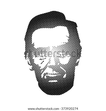 Dotted Silhouette Abraham Lincoln. American president, vector illustration - stock vector