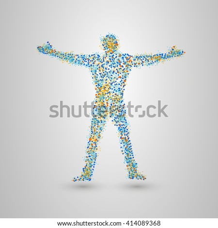 Dotted silhouette of person. Standing man of many small circles. Vector illustration.