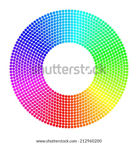 dotted spectrum color round - stock vector