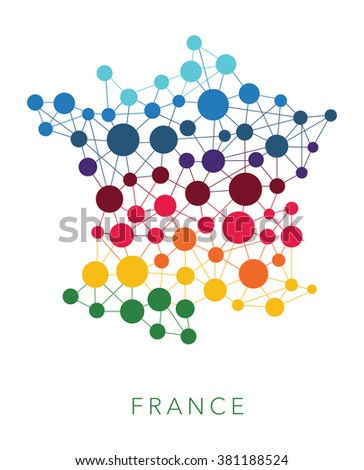 dotted texture France vector background  - stock vector