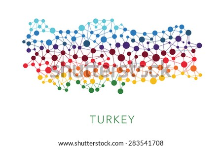 dotted texture Turkey vector background on white