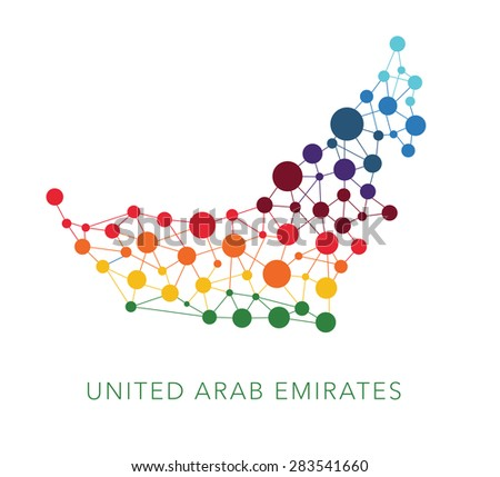 dotted texture United Arab Emirates vector background on white - stock vector