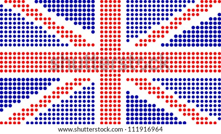 Dotted United Kingdom Flag On White - stock vector