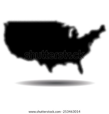 Dotted United States illustration - stock vector