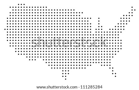 Dotted USA map on white - stock vector