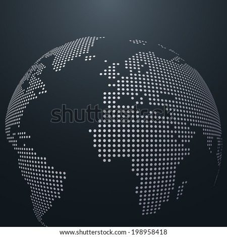 Dotted vector globe - stock vector