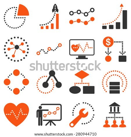 Dotted vector infographic business icons on a white background. This bicolor vector icon set uses orange and gray colors.  - stock vector