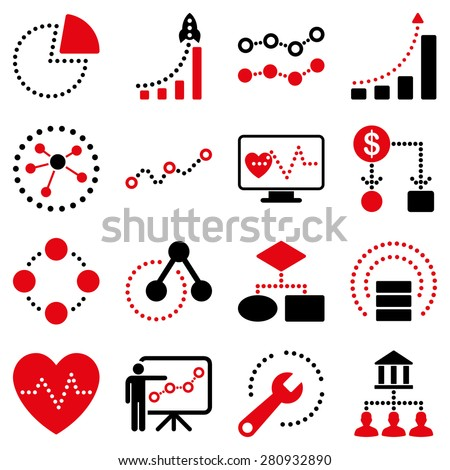 Dotted vector infographic business icons. This bicolor vector icon set uses intensive red and black colors. Images are on a white background. - stock vector