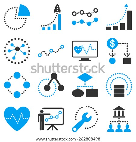 Dotted vector infographic business icons. This bicolor vector icon set uses modern corporate light blue and dark grey color scheme. - stock vector