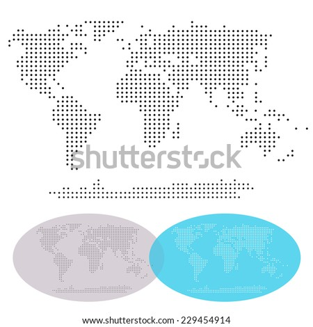 Dotted World Continents map, isolated: Africa, Asia, Australia, Europe, North America, South America. Vector file, easy editing. - stock vector