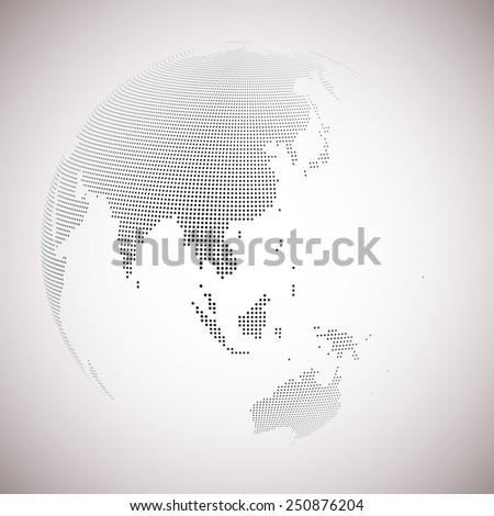 Dotted world globe, light design vector illustration. - stock vector