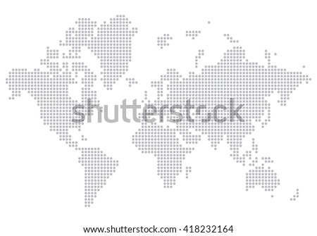 dotted world map - stock vector