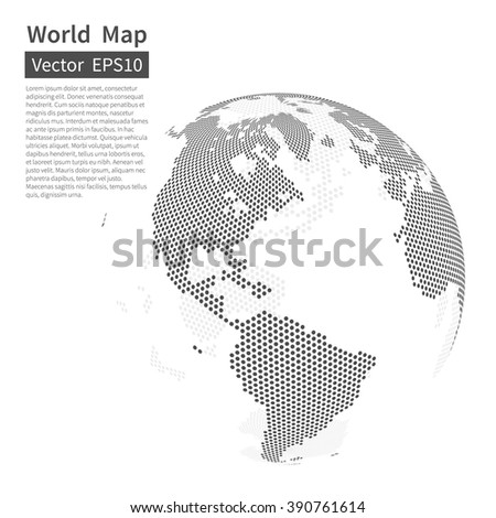 Dotted World Map Background. Earth Globe. Globalization Concept. Black And White. Vector. - stock vector