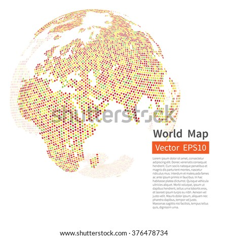 Dotted World Map Background. Earth Globe. Globalization Concept. Vector. - stock vector