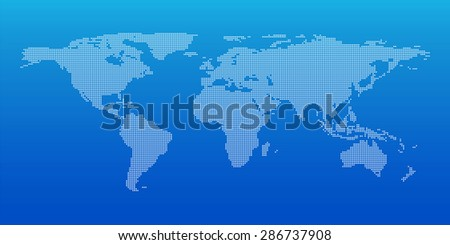Dotted world map for global business background, Vector illustration - stock vector