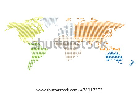 Dotted world map in perspective with separately selectable continents