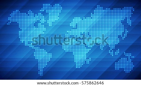 Dotted world map made glowing dots stock photo photo vector dotted world map made of glowing dots abstract blue light background for your design gumiabroncs Images