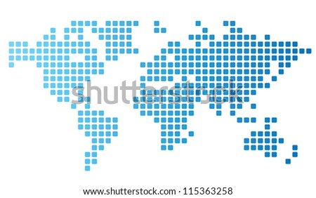 Dotted world map made of rounded rectangles. Vector illustration. - stock vector