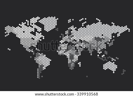 Dotted World map of hexagonal dots on dark background. Vector illustration. - stock vector