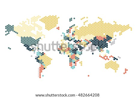 Beautiful world map pattern wall sticker vectores en stock 326472566 dotted world map of hexagonal dots on white background vector illustration gumiabroncs Gallery